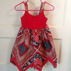 Red white & blue handkerchief dress